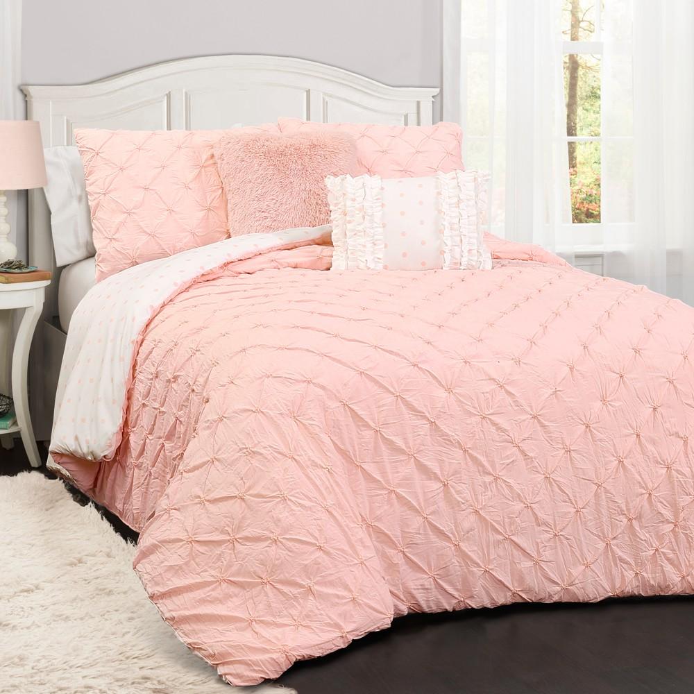 Pink Revello Pinktuck Comforter Set - 4pc (Twin) - Lush Decor