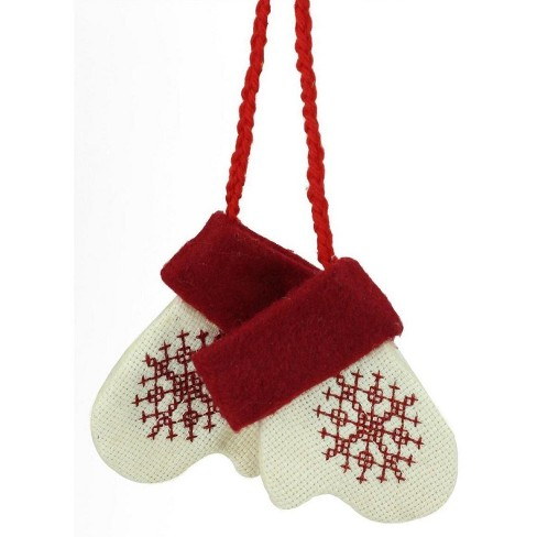 Roman 35 Embroidered Snowflake Mittens Christmas Ornament Cream