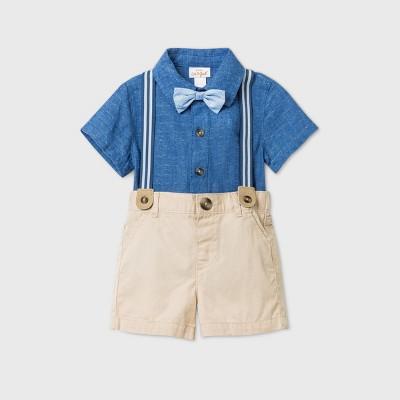 Baby Boys' Bowtie Suspender Top & Bottom Set - Cat & Jack™ Navy 6-9M