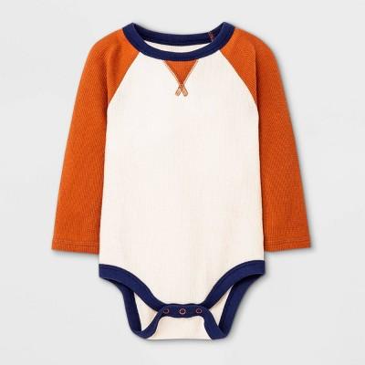 Baby Boys' Raglan Thermal Long Sleeve Bodysuit - Cat & Jack™ Orange 12M