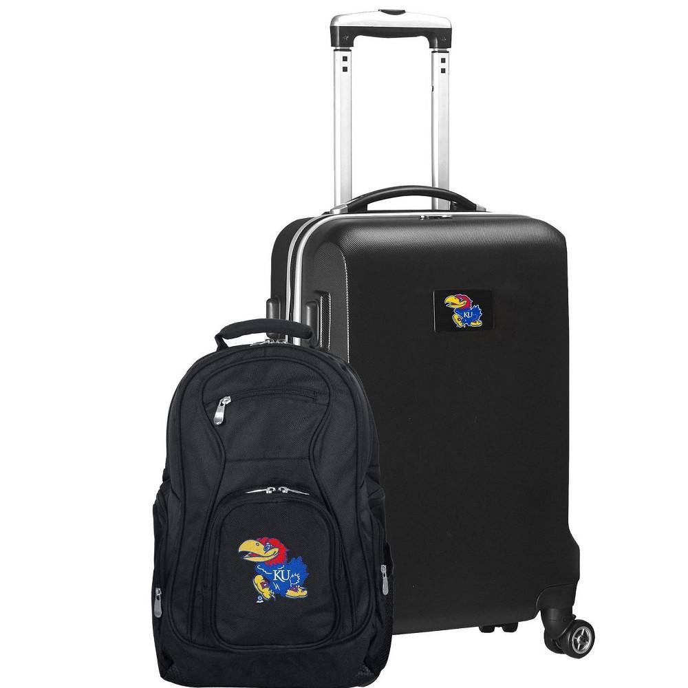 NCAA Kansas Jayhawks Deluxe 2pc Backpack & Carry-On Luggage Set - Black