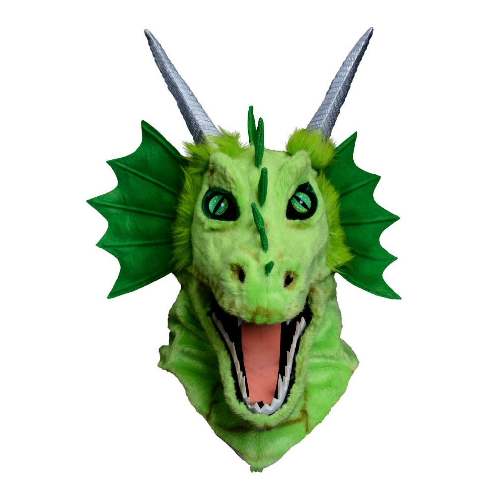 Image of Adults' Moving Jaw Green Dragon Halloween Mask Forum, Men's