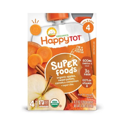 HappyTot Super Foods Organic Apples Sweet Potato Carrots & Cinnamon with Super Chia Baby Food Pouch - (Select Count)