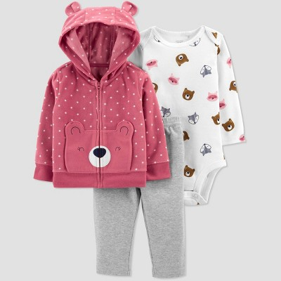 Baby Girls' Bear Hoodie Top & Bottom Set - Just One You® made by carter's Rose Pink 3M