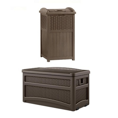 73 Gallon Deck Box With Seat with Suncast Resin Wicker Trash Hideaway