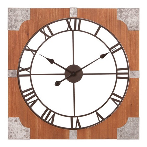 """24"""" Square Rustic and Galvanized Cut Out Roman Numerical Wall Clock Wood/Metal - Patton Wall Decor - image 1 of 4"""