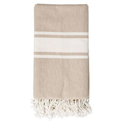 Cotton Throw Blanket - Beige with Ivory Stripes - 3R Studios