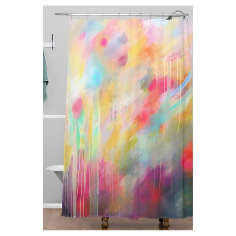 Watercolor Shower Curtain Red