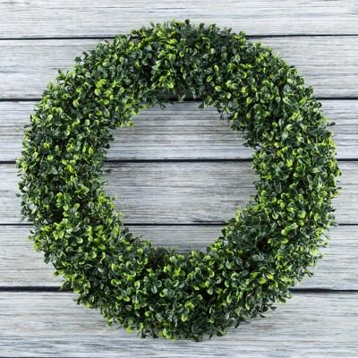 Round Artificial Boxwood Wreath 19.5  - Pure Garden