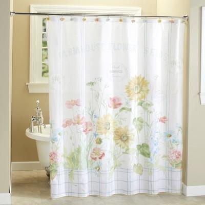 Lakeside Farm Fresh Flowers Restroom Shower Curtain - Floral Bathroom Accent