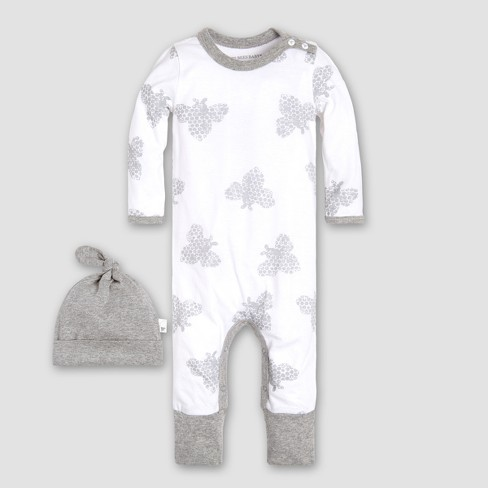 Burt's Bees Baby Boys' Infant Organic Cotton Honey Bee Coverall and Hat Set - White/Gray - image 1 of 5