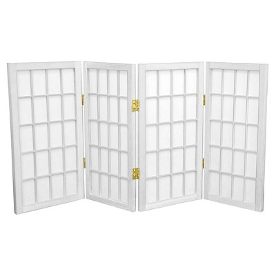 2 ft. Tall Desktop Window Pane Shoji Screen (4 Panels) - Oriental Furniture