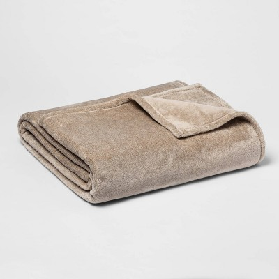 Full/Queen Microplush Bed Blanket Tan - Threshold™