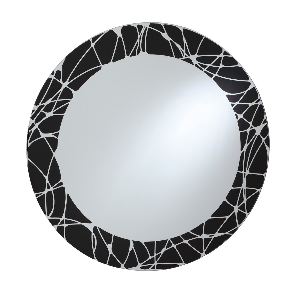 Circular Beveled Frameless Wall Mirror with Silk Screened Black and White Pattern Embedded Border Black 24 - Breeze Point