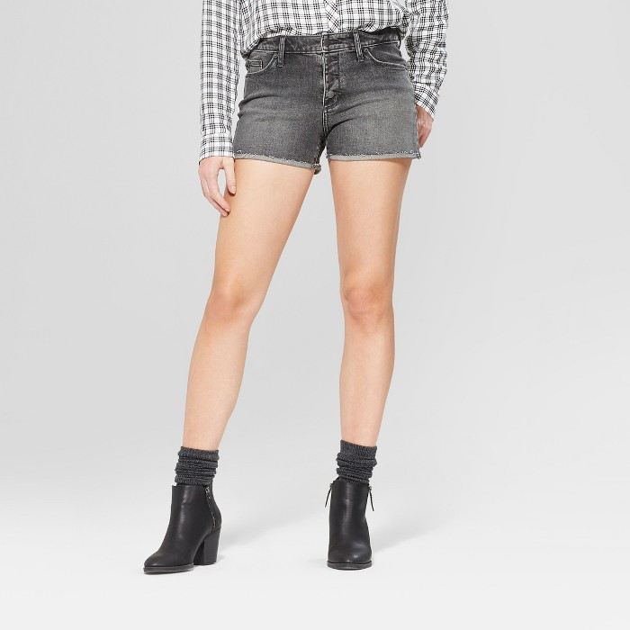 Women's High-Rise Raw Hem Shortie Jean Shorts - Universal Thread™ Black Wash - image 1 of 3