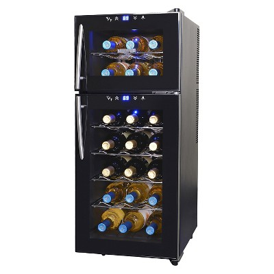 NewAir 21 Bottle Dual Zone Thermoelectric Wine Cooler - Black AW-210ED