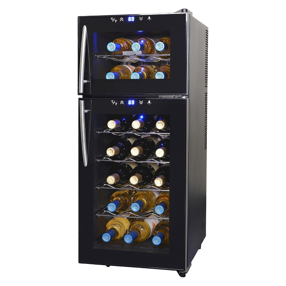 NewAir 21 Bottle Dual Zone Thermoelectric Wine Cooler – Black AW-210ED 50149195