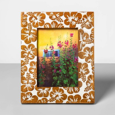 5  x 7  Wooden Carved Hibiscus Pattern Photo Frame Buff Beige - Opalhouse™