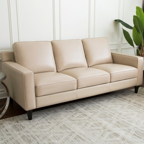 Olivia 3pc Top Grain Leather Sofa Loveseat And Armchair Cream Abbyson Living Target