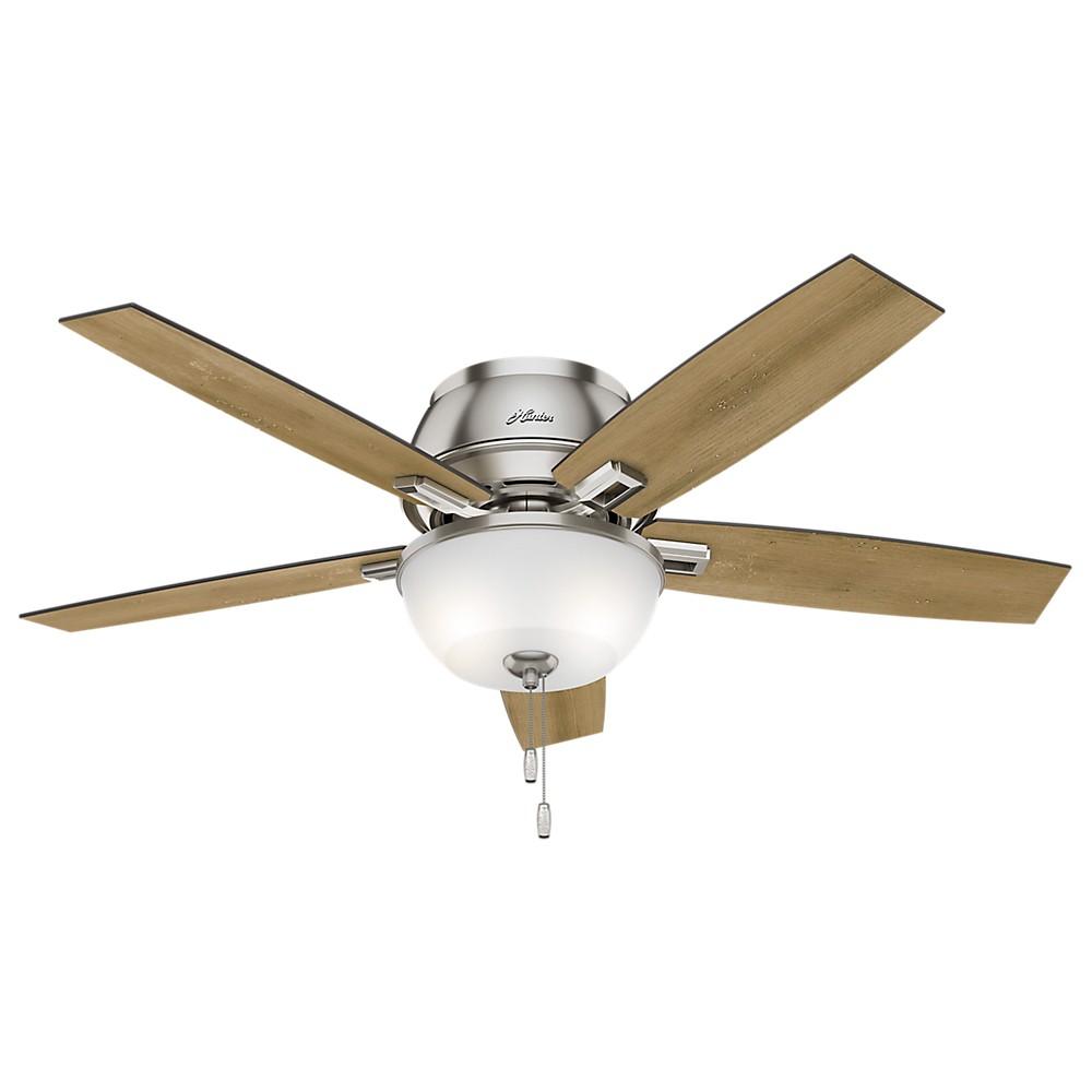 52 Donegan Low Profile Brushed Nickel Ceiling Fan with Light - Hunter Fan