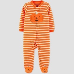 Baby Stripe Pumpkin Halloween 1pc Pajama - Just One You® made by carter's Orange