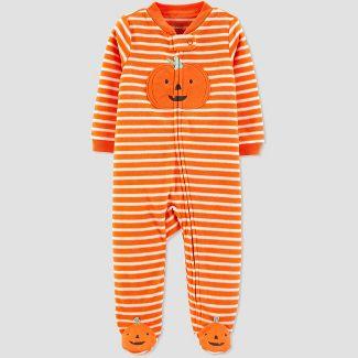 Baby Stripe Pumpkin Halloween 1pc Pajama - Just One You® made by carter's Orange 3M