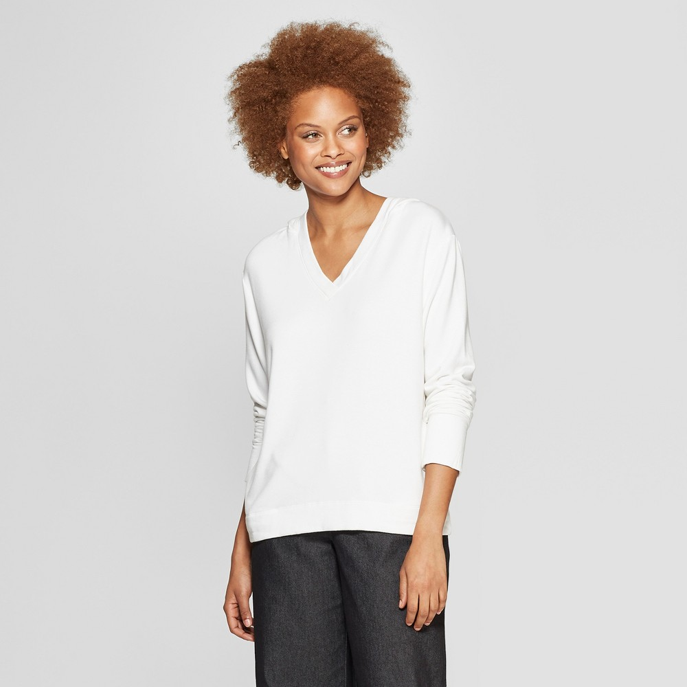 Women's Long Sleeve V-Neck Hooded Sweatshirt - Prologue White S