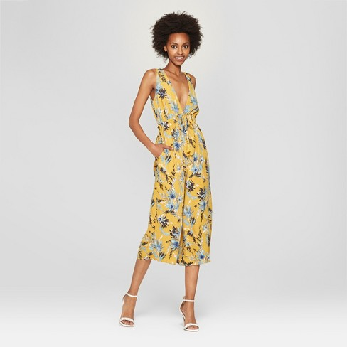 4d91c160f31a Women s Floral Print Sleeveless Jumpsuit - NEEDLEWORK Yellow