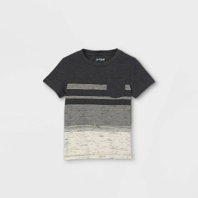 Toddler Boys' Striped Pocket Short Sleeve T-Shirt - Cat & Jack™ Charcoal Gray