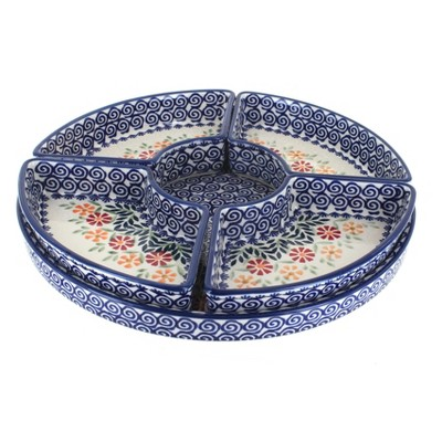 Blue Rose Polish Pottery Garden Bouquet Tray with 4 Plates