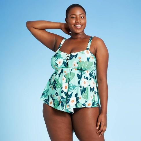 Women's Plus Size Tallia Tankini Top - Sea Angel Spearmint Rose - image 1 of 4