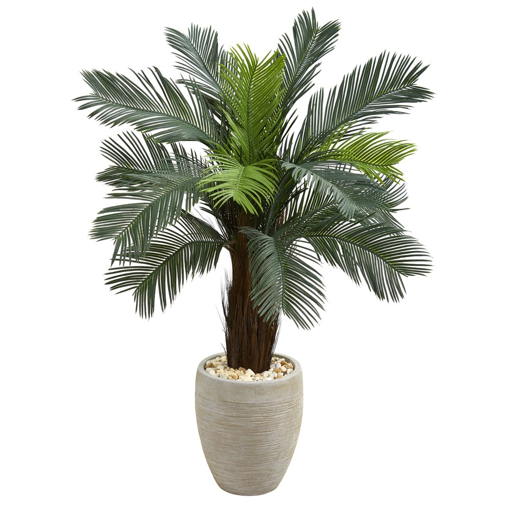 4.5ft Cycas Artificial Tree In Oval Planter - Nearly Natural, Green