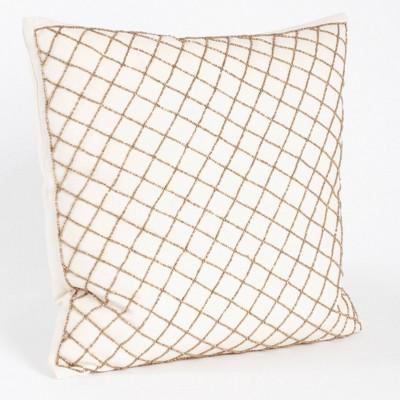 Down Filled Diamond Design Beaded Pillow Bronze - Saro Lifestyle