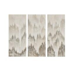 3pc Sterling Mist Hand Brush Embellished Art Canvas Gray