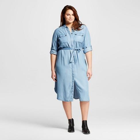 Women\'s Plus Size Midi Shirt Dress Chambray 4x - Who What ...