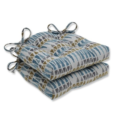 Set of 2 Indoor Chair Pad Blue/Gray - Pillow Perfect