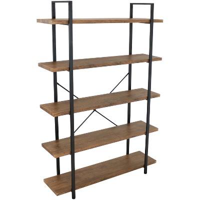 Sunnydaze 5 Shelf Industrial Style Freestanding Etagere Bookshelf with Wood Veneer Shelves - Teak Veneer