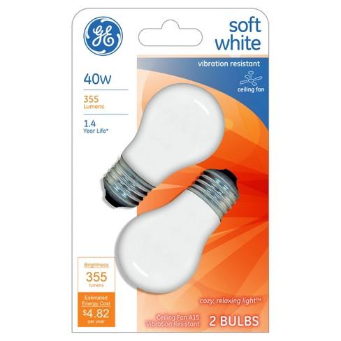Ge 40 Watt Ceiling Fan Incandescent Light Bulb 2 Pack Soft White Target
