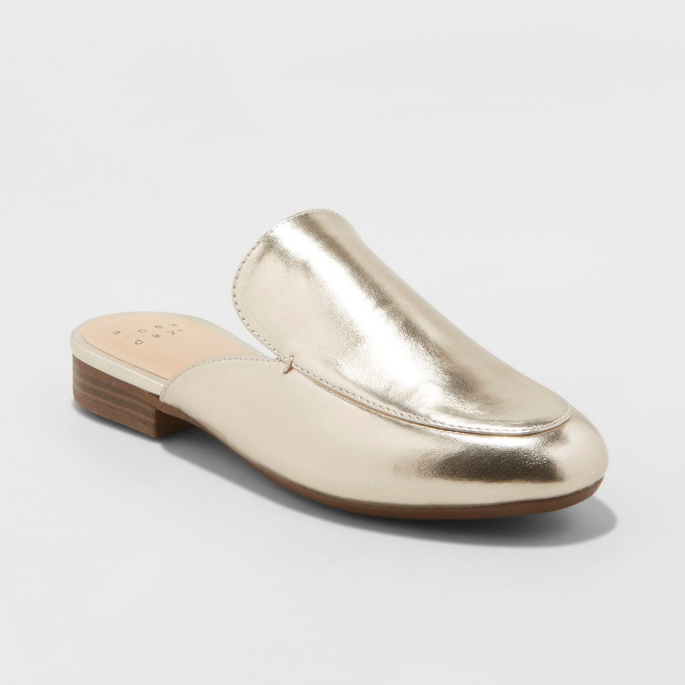 Women's Anney Backless Mules - A New Day Gold 7
