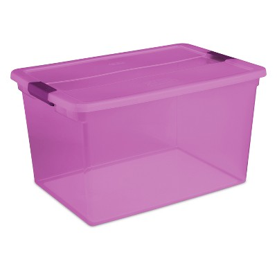 Sterilite 66 Qt ClearView Latch Box Purple Tint