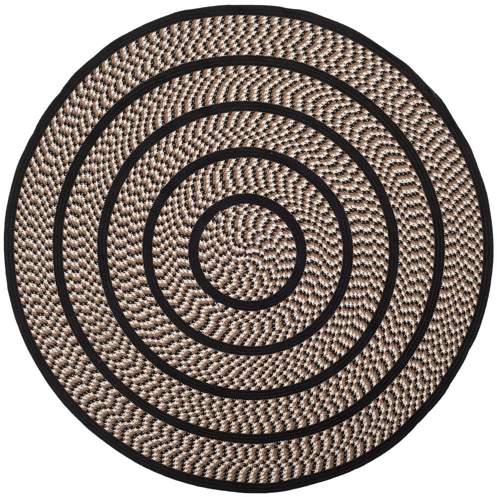 Ivory/Black Solid Woven Round Area Rug 6' - Safavieh, Ivorynblack