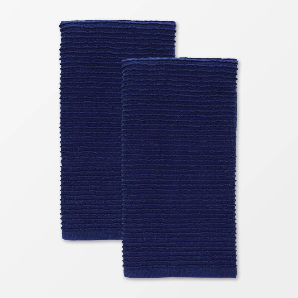 "Image of ""18""""x28"""" 2pk Cotton Ridged Kitchen Towel Navy - MU Kitchen, Blue"""