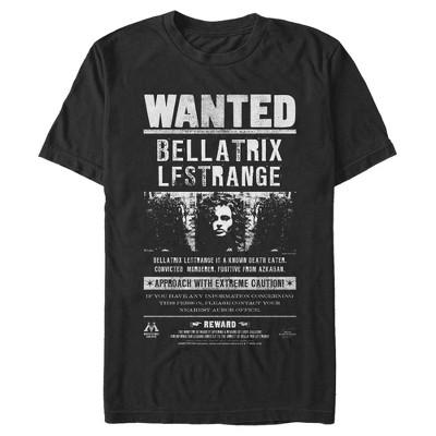Men's Harry Potter Bellatrix Wanted Poster T-Shirt