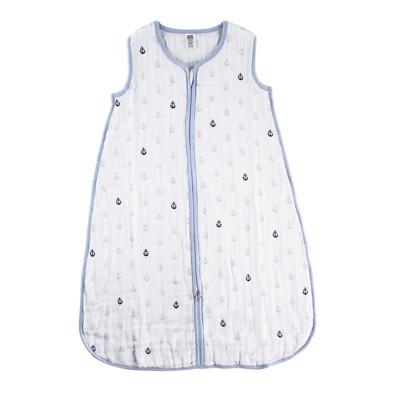 Hudson Baby Infant Boy Muslin Cotton Sleeveless Wearable Sleeping Bag, Sack, Blanket, Anchor
