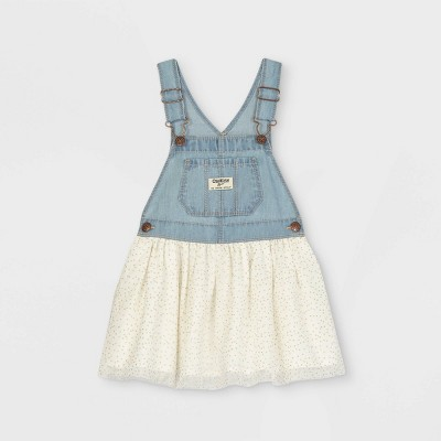 OshKosh B'gosh Toddler Girls' Denim Glitter Tulle Skirtall Dress - Blue/Cream 12M