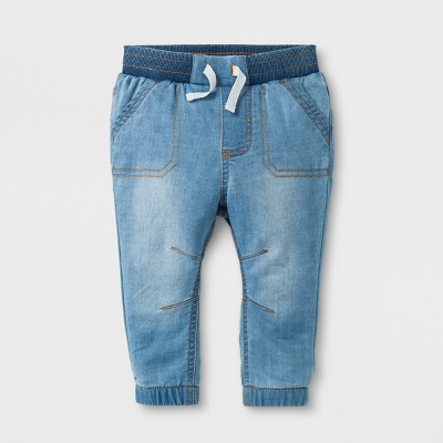 Baby Boys' Knit Denim Joggers - Cat & Jack™ Light Wash 6-9M