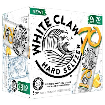 White Claw 70 Pineapple Hard Seltzer - 6pk/12 fl oz Slim Cans