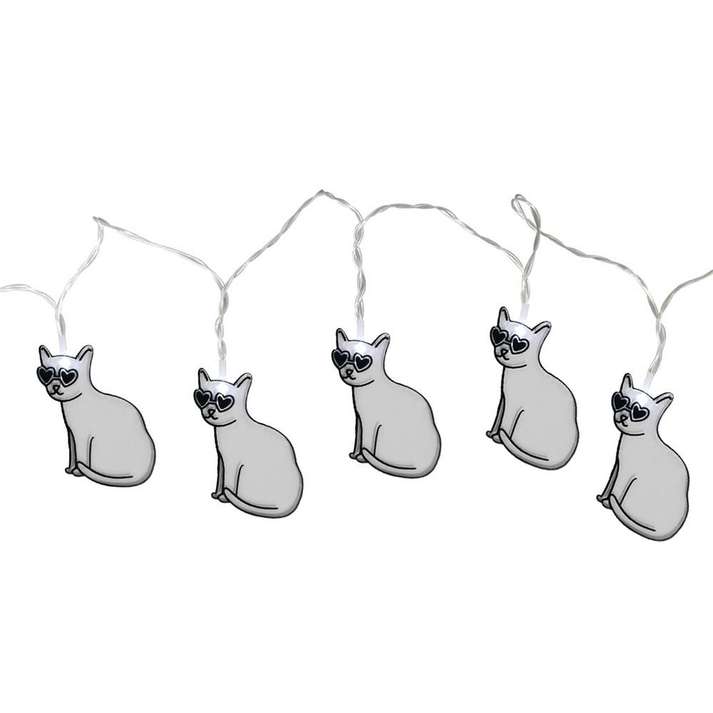 Large Led Cat String Lights White - Room Essentials