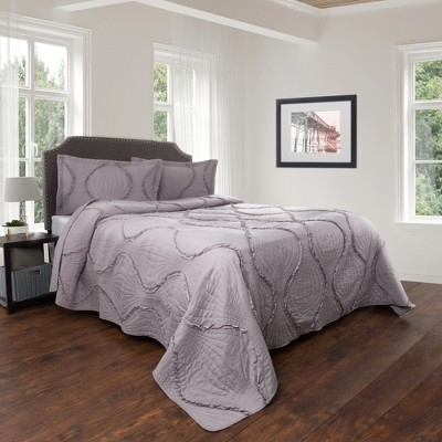 3pc Full/Queen Hypoallergenic Oversized Curved Ruffle Design Quilt Set Silver - Charlize Series By Yorkshire Home