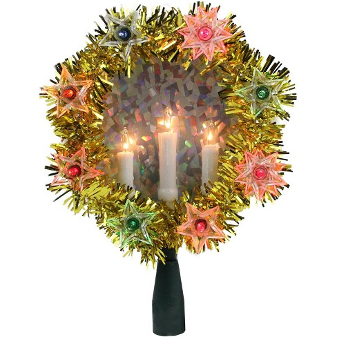 Northlight 7 Gold Tinsel Wreath With Candles Christmas Tree Topper Multi Lights